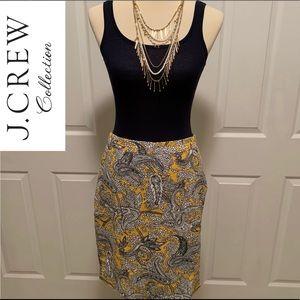 J. Crew Yellow Paisley Print Skirt